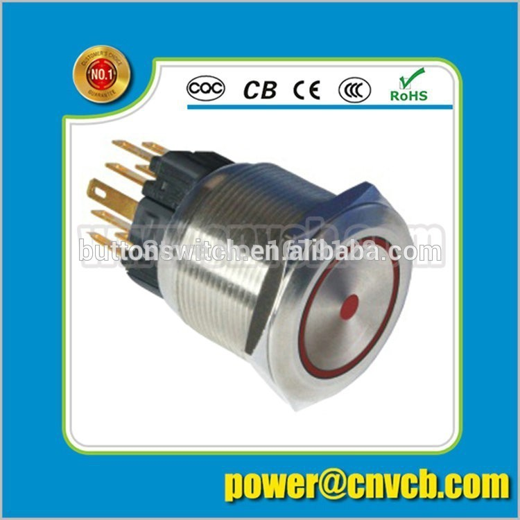 TY 2505F 25mm Ring lamp brass doorbell 24VDC red led momentary metal push button switch(China (Mainland))