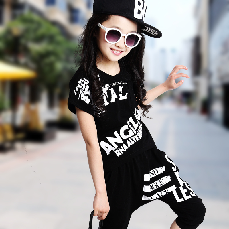 Hip Hop Style 2015 Children Casual Clothing Sets Summer Girls Short Suit Female Kids Sports Short-Sleeve Tops Harem Pant 2Pcs N5(China (Mainland))