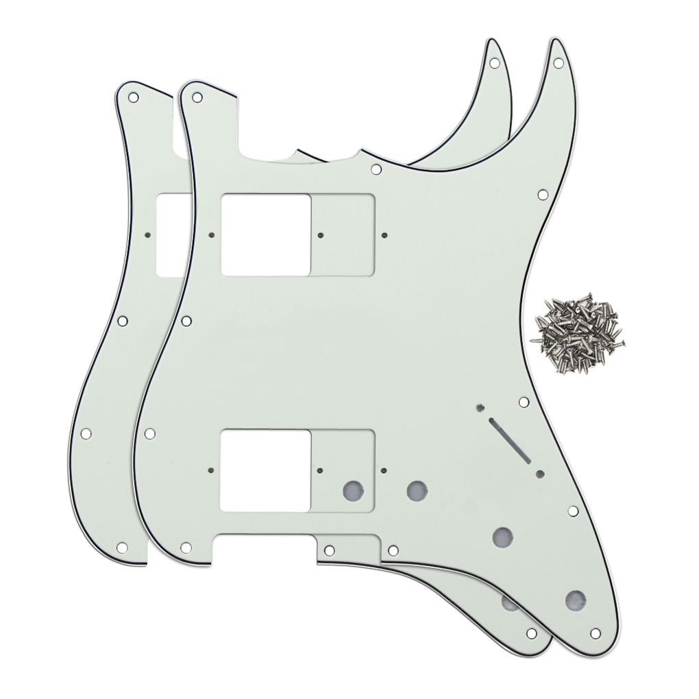 Ivory Color 2PCS HH ST Guitar Pickguards 3Ply 11 Holes Pickguards With Screws for FD Strat Guitar(China (Mainland))