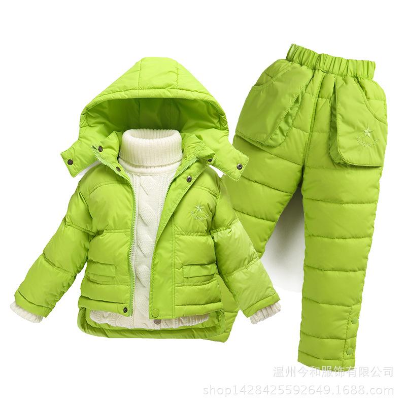 Children Down Coat Set Jacket Pants Hooded White Duck Down Winter Outwear Coat & Parkas Suit Boys Girl Clothing Set 80-120cm