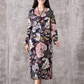New 2016 Black Vintage O neck Long Maxi Dress Robe Autumn Straight Plus Size Long Sleeve