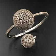 HADIYANA 2018 כדור צורת צמיד & טבעת 2pcs תכשיטי סט AAA מעוקב Zirconia דובאי יוקרה צמיד סט לנשים חתונה מסיבת SZ095(China)