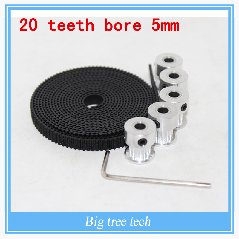 5pcs 20teeth GT2 Timing Pulley and 5M GT2-6mm GT2 Timing Belt for 3D printer with 10 x M3 Setscrews,Allen Key<br><br>Aliexpress