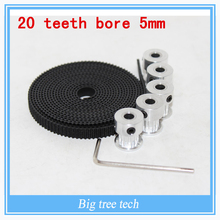 5pcs 20teeth GT2 Timing Pulley and 5M GT2-6mm GT2 Timing Belt for 3D printer with 10 x M3 Setscrews,Allen Key