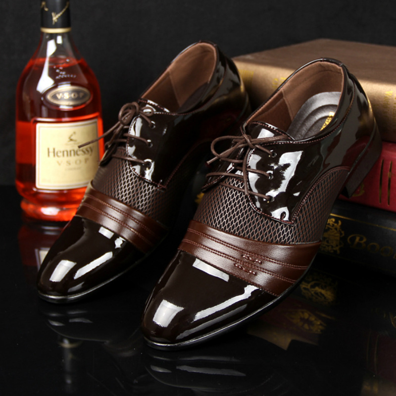 Derby shoes cheap men shoes leather 2017 big size 38-47 patchwork lace up men flat shoes dress PU breathable chaussure homme(China (Mainland))