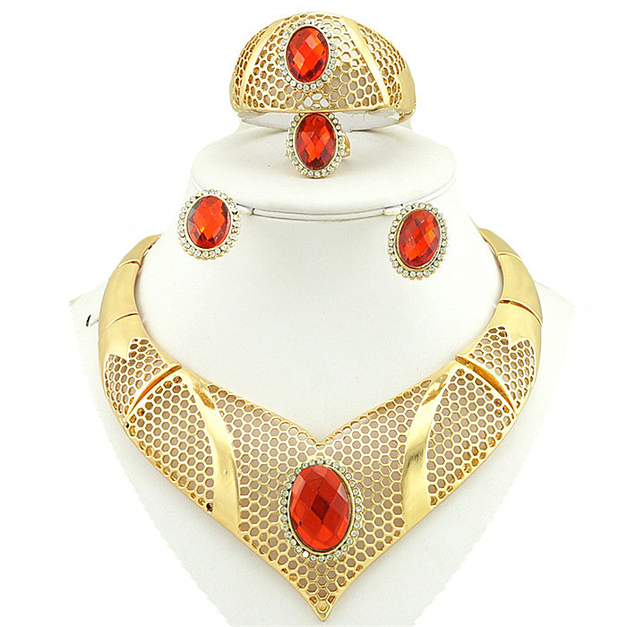 african wedding party jewelry 18k gold filled jewelry sets african jewelry sets african women necklace(China (Mainland))
