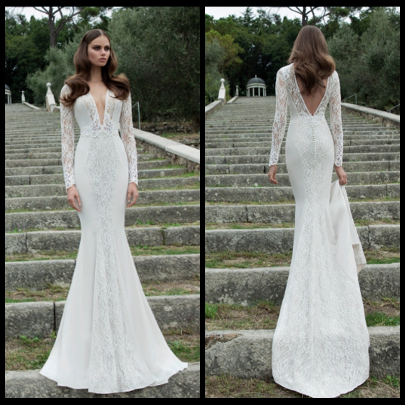 Buy new long sleeve deep v neck backless for Long sleeve lace v neck wedding dress