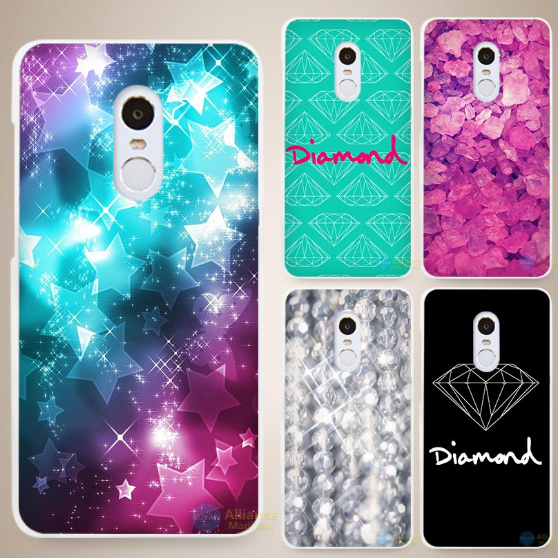 Diamonds Just Print Hard White Cell Phone Case Cover for Xiaomi Mi Redmi Note 3 3S 4 4A 4C 4S 5 5S Pro(China (Mainland))