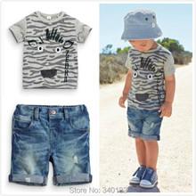 2015 Retail boys summer clothes set kids clothes boys clothes children's short-sleeved T-shirt + denim shorts(China (Mainland))