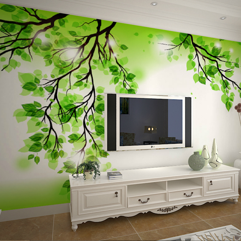 Custom wallpaper simple 3d stereoscopic wallpaper murals for Green wallpaper living room