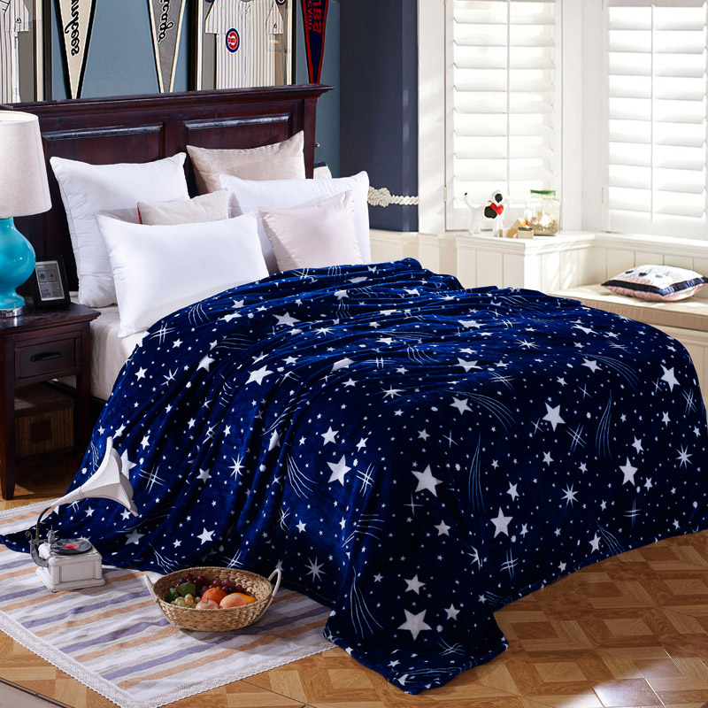 to on for the sofa bed textile cute PLUSH WOOL FLUFFY BLUE GREEN STARS BOYS BLANKETS a plaid fleece real faux fur fox BLANKET(China (Mainland))