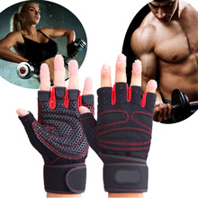 Sports Gym Gloves Half Finger Breathable Weightlifting Fitness Gloves Dumbbell Men Women Weight lifting Gym Gloves Size M/L/XL(China (Mainland))