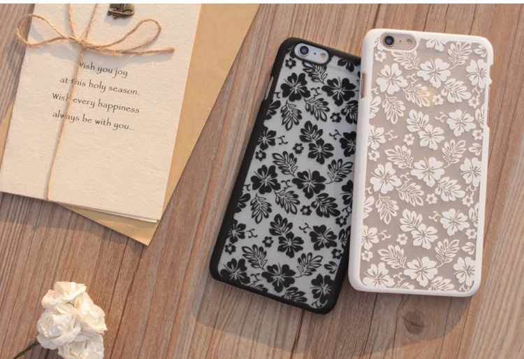 New Luxury Hard Case For Apple IPhone 5 5S 6S 6 Plus Palace Flower Pattern Mobile Phone Coque Black White Phone Back Cover