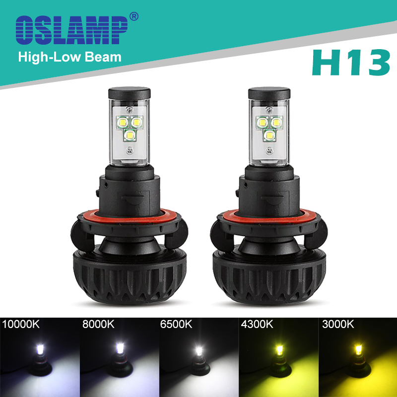 Oslamp High-Low/Hi-Lo Beam H13 Bright 6500K Car LED Headlight 2WD/4WD Automobile Styling SUV Head Lamp LED Blubs for Car Fanless(China (Mainland))