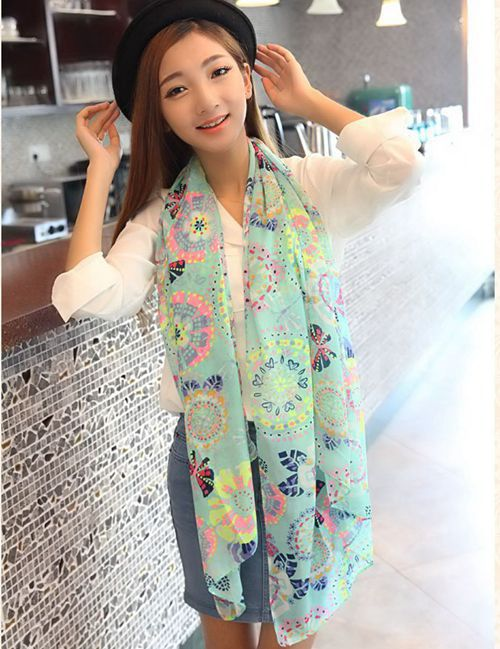 1 Piece Colorful Dragonfly butterfly flower Pattern chiffon scarf Summer Autumn Sunscreen shawl Wholesale Price cheap(China (Mainland))