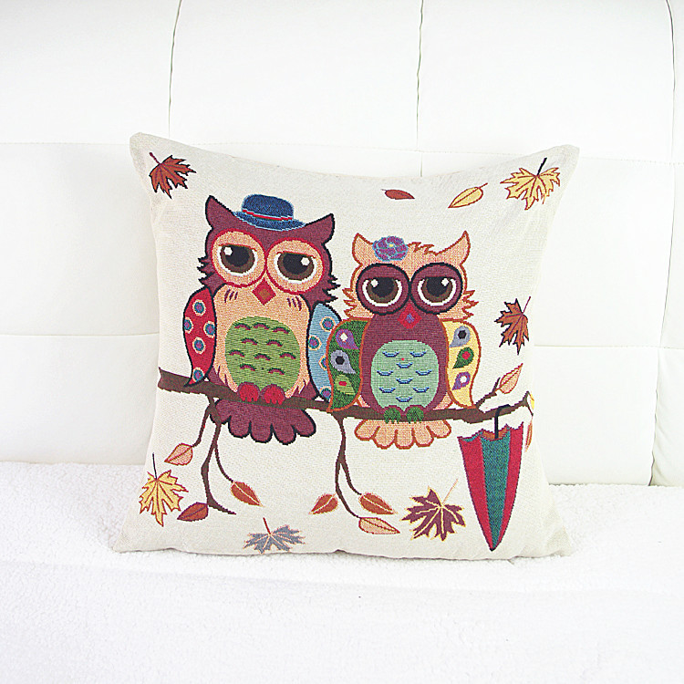 Knitted Classic Sofa Chair Car Pillow Home Decorative Antique Bird Indian Cute Funny Night Owl Traditional Design Cushion Covers(China (Mainland))
