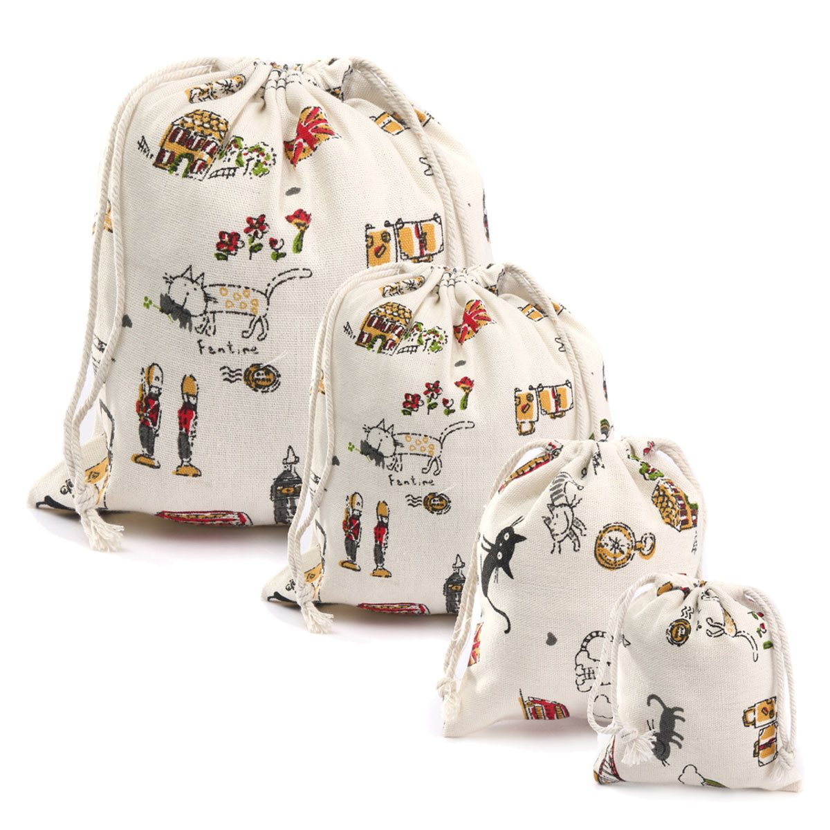 Storage Cotton Linen Cartoon Cat- Style Bags Drawstring Sack Tea Gift Bag Small Beam Rope Pouches Home Decor Handbags(China (Mainland))