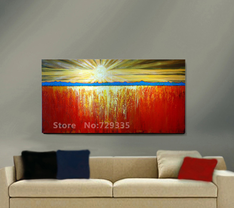 100%Handpainted Canvas wall Art Modern Painting Sunrise Landscape Abstract Oil Painting Home Decoration Modern Wall Picture(China (Mainland))