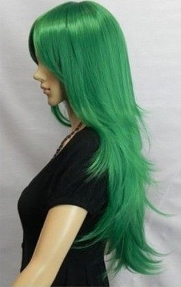 Beautiful fashion newly listed companies have a new vertical green wigs(China (Mainland))