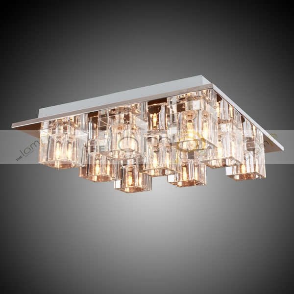 Free Shipping K9 Crystal Flush Mount Ceiling Lights With 9 Lights In Square For Living Room