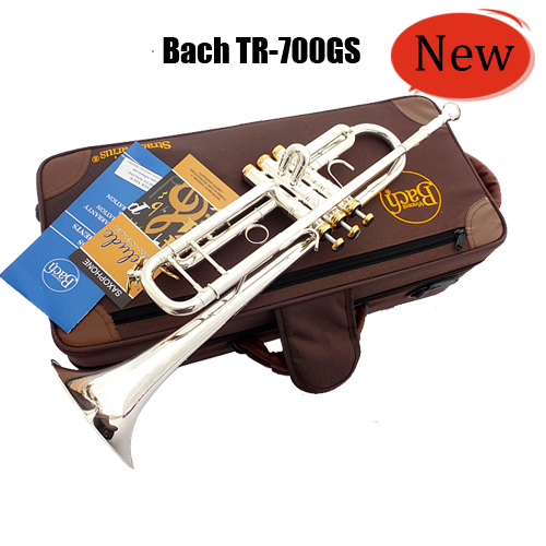 Vincent Bach Trumpet TR-700GS Trumpet Instruments Silvering Gold Key Brass Bb Trumpet with Mouthpiece Gloves Free Shipping(China (Mainland))