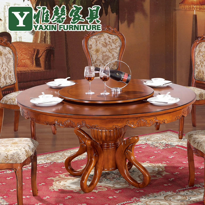 Ya-hing European solid wood dining table and chairs combination of hand-carved marble imported oak dining table Classic table(China (Mainland))