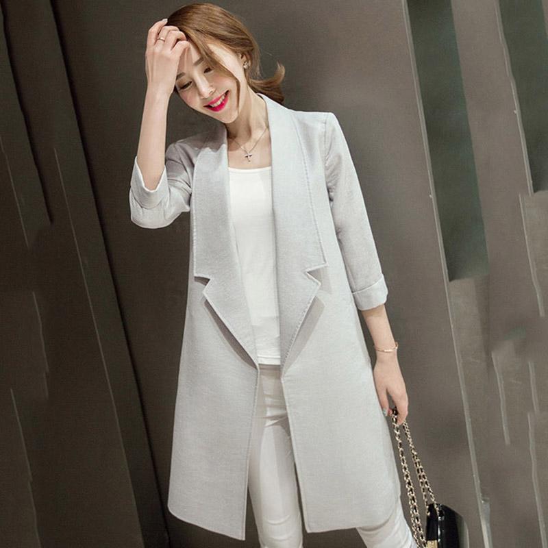 2015 New Fashion Autumn Winter Women Long Coat Long Sleeve Trench Coat Casual Loose Overcoat(China (Mainland))