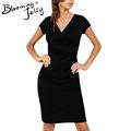 Blooming Jelly V Neck Black Dress Short Sleeves Package Hip Sheath Office Dress 2017 Women Dresses