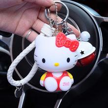 Anime Olá Kitty Chaveiro Bonecas Dos Desenhos Animados Cat KT Chaveiro Holer Corda de couro Porte Clef Saco Anel Chave Do Carro Chaveiro Presente para mulheres(China)
