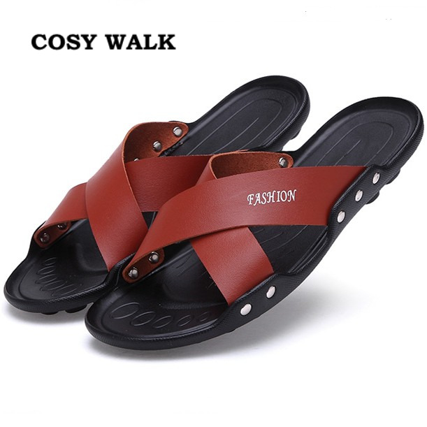 2016 New Summer Breathable men's Genuine Leather sandals fashion open toe Slippers Shoes Men Flats soft Beach leather sandals(China (Mainland))