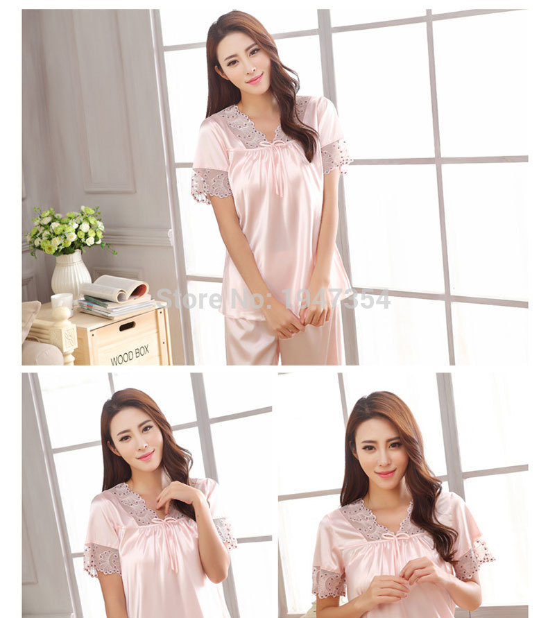 New arrival summer women short sleeve sleepwear silk pajama set two pieces sexy hollow out lace v neck underwear set 6 colors