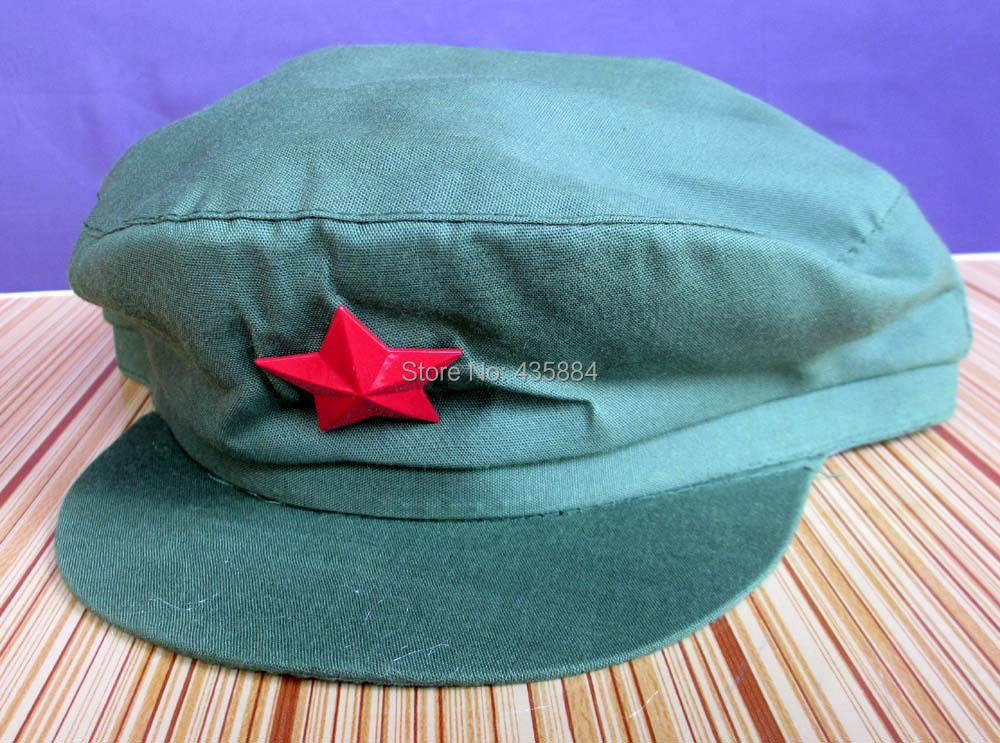 China PLA Soldier Red Army Green Hat Red Guard Cosplay Cap Mao HAT With Red Star(China (Mainland))