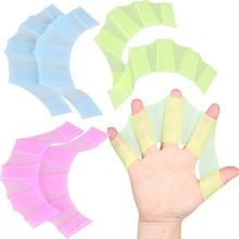 Silicone Hand Swimming Fins Flippers Swim Palm Finger Webbed Gloves Paddle US#V(China (Mainland))