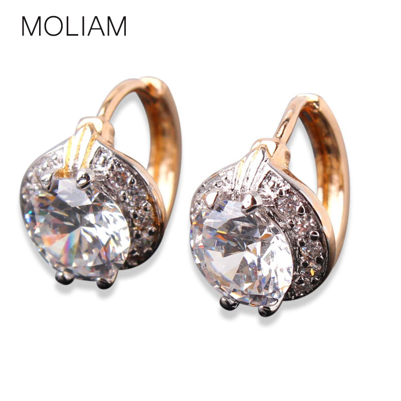 MOLIAM Smart Chic White Zircon Earring 18k Gold Platinum Plated Lady Small Huggie Hoops Earrings for