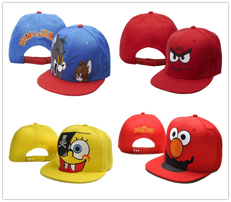 2015 Classical Animation Cartoon Sponge Bob Superman Tom and Jerry Hats Snapback Adjustable Baseball Caps Mens Kids hip hop hat(China (Mainland))