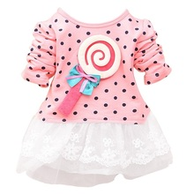 2015 Newest Fashion Spring Kids sweater greatly lollipop full version Dot Girls T-shirt stitching Baby Girls lace Dresses(China (Mainland))