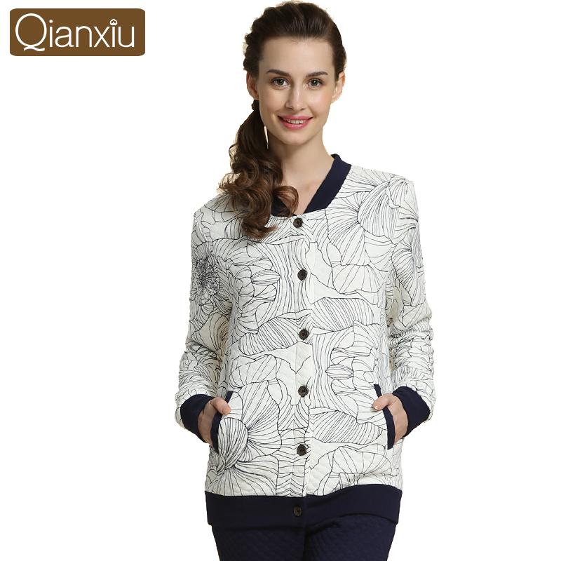 Qianxiu Thicken Cotton Pyjamas Women Knitted Floral Homewear Longsleeve Sleep&amp;Lounge Одежда и ак�е��уары<br><br><br>Aliexpress