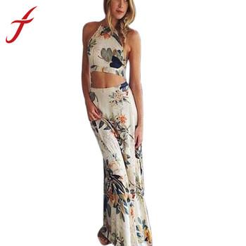 Feitong мода женщины лето сексуальная крест спинки бохо Halterneck цветочный принт 2 шт. установить длинное платье пляж платье бесплатная доставка