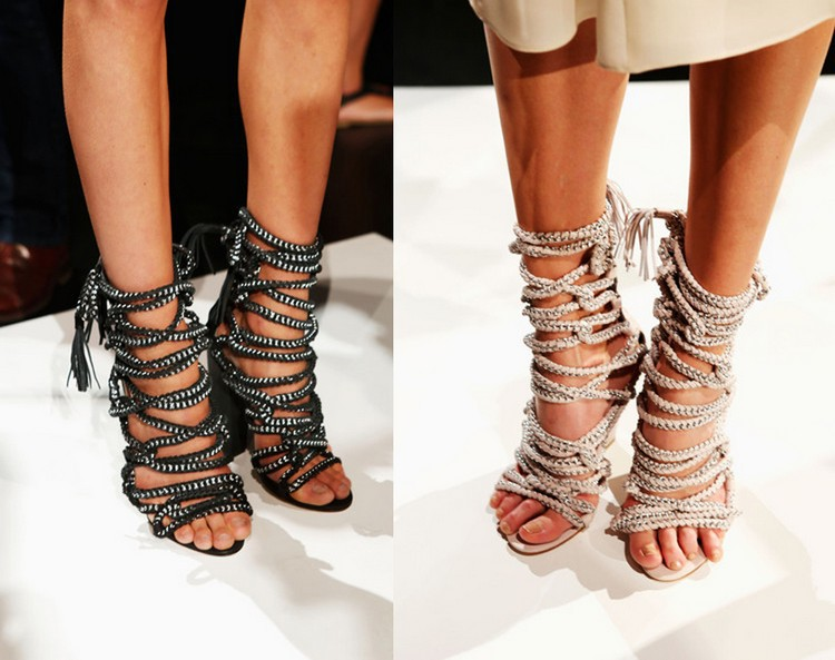 New Sexy High Heels Chains Rope Women Sandals Strappy Gladiator