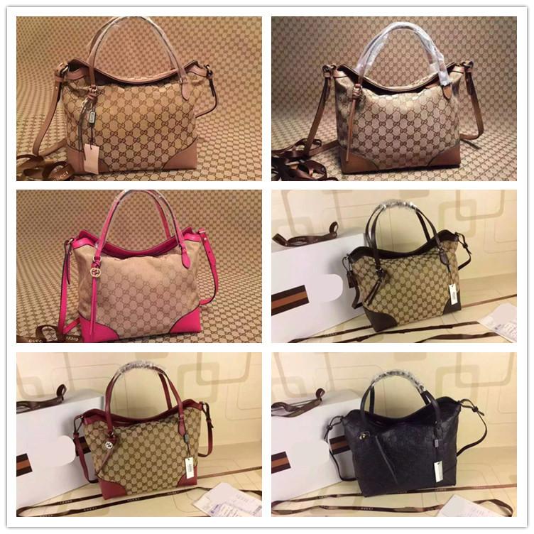 Women genuine leather handbag 2015 italy brand cowhide leather beige canvas shopping bag natural linen lining shoulder hobos bag(China (Mainland))