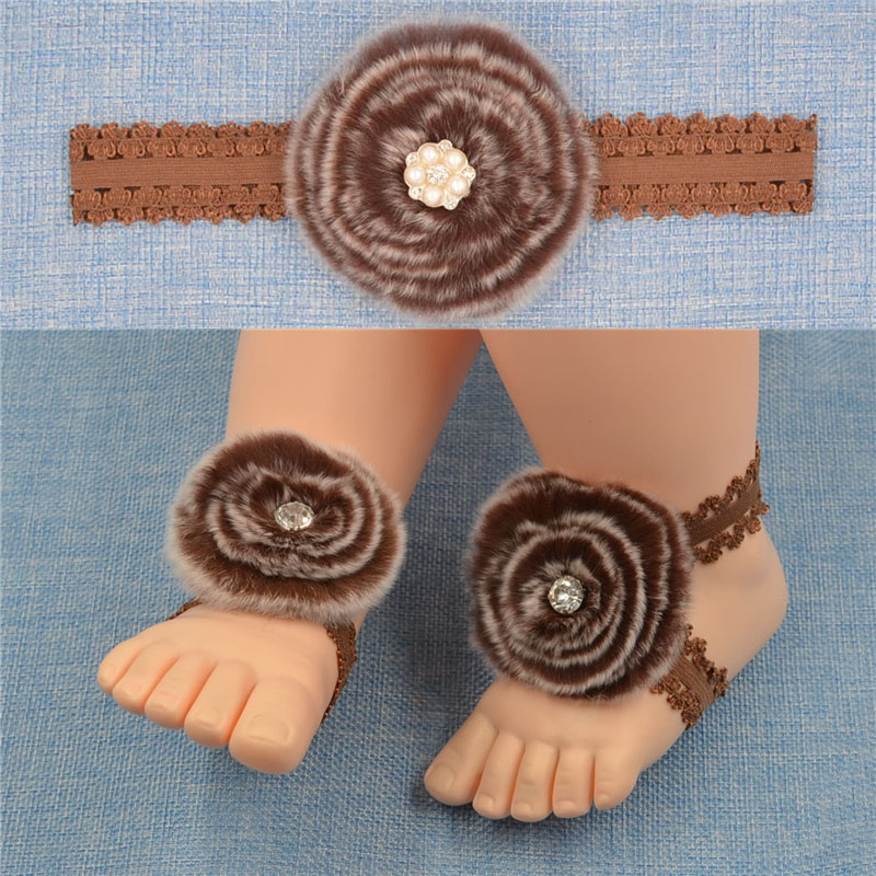 Toddler Newborn Infant Baby Girls Lace Hairband fur ball + Barefoot Sandals Foot Band Flower fur Headband 1 Set Hair Accessories(China (Mainland))