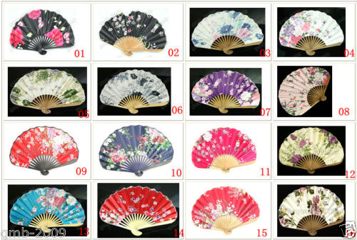 Chinese Japanese Folding Blue Butterfly Silk Hand Flower Bamboo Asian Pocket Fan(China (Mainland))