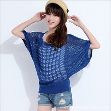 New 2014 Women Casual Blusas Tricotado Women Fashion Batwing Sleeve Knitted Pullovers Autumn Summer Crochet Sweaters