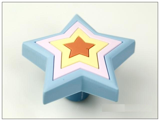10Pcs Blue Star Furniture Handles Rubber Baby Boys Girls Room Furniture Knobs(Size:25*25mm)(China (Mainland))