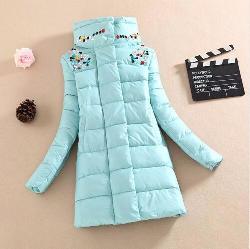 Скидки на 2016 зимняя куртка способа женщин slim на средние и длинные пальто куртка женский алмаз верхняя одежда женщин вниз хлопка-ватник куртки и пальто
