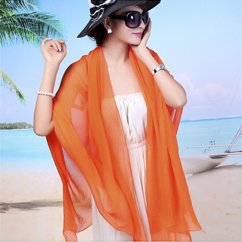 2015 new style New super pure color silk scarves long vacation is prevented bask in false beach towels emulation silk for women(China (Mainland))