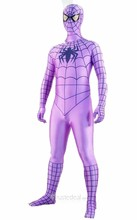 Black Stripes Lycra Spandex Violet Spiderman Costume Zentai outfit (Z193)(China (Mainland))