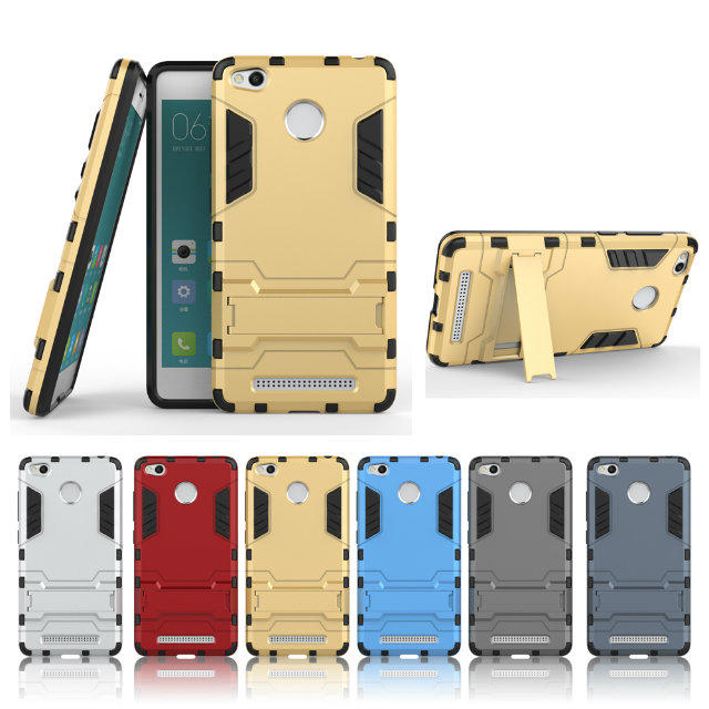 Hybrid TPU+PC Iron Man Armor Shield Case For Xiaomi Redmi 3 Pro Redmi3 Pro 3S With Fingerprint Stand Holder Back Cover Case(China (Mainland))