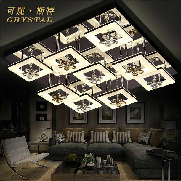 Led living room lamp rectangle acrylic ceiling light modern crystal lamp brief quality living room lamps 9 lamps(China (Mainland))