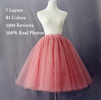 7 слоя макси долго тюль юбки летний стиль высокой талией миди юбки плиссе женщин ...